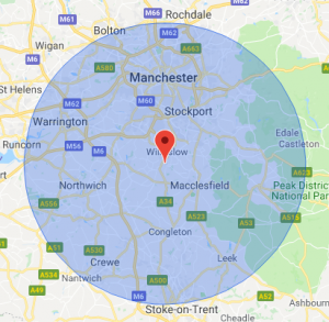 Map Coverage Locations Cheshire and Manchester